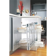 INOX Magic Corner-Double Pull out Stainless  A3.02.101